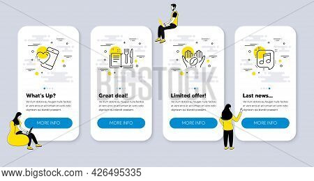 Vector Set Of Business Icons Related To Heart, Recipe Book And Coffee Icons. Ui Phone App Screens Wi