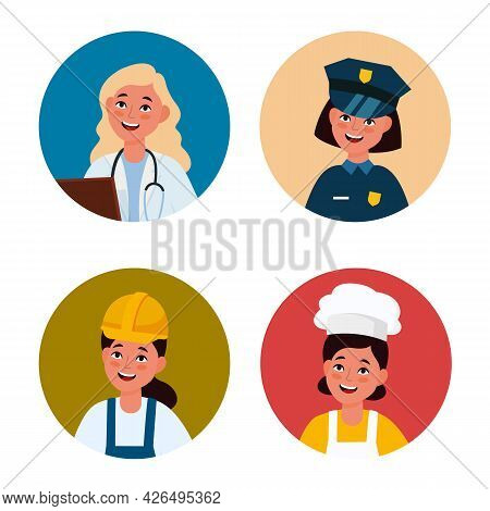 Professional Female Avatar. Workers Women In Uniform. Circles With Happy Faces. Girls Wear Doctor An