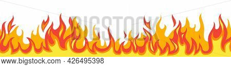 Seamless Fire Flame. Flaming Pattern. Flammable Horizontal Line. Red And Yellow Blaze. Decorative Bu