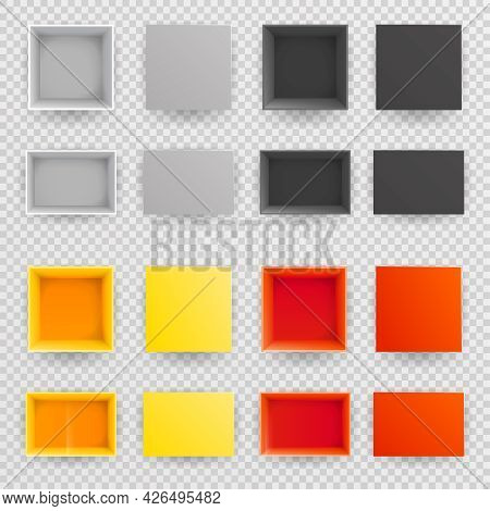 Top View Paper Open Box Set Vector Realistic Design Illustration