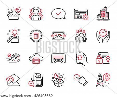 Vector Set Of Business Icons Related To Image Carousel, Buildings And Group Icons. Parking Garage, C