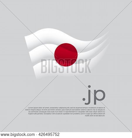 Japan Flag. Stripes Colors Of The Japanese Flag On A White Background. Vector Stylized Design Nation