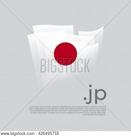 Japan Flag. Vector Stylized Design National Poster On A White Background. Japanese Flag Painted With