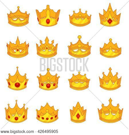 Medieval Royal Crown Queen Monarch King Lord Flat Deisgn Icons Vector Set Isolated Illustration
