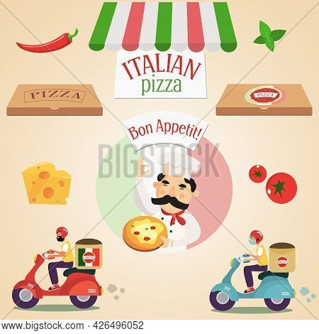 Large Pizza Set - Chef, Pizza, Pizza Box, Pizza Delivery By Scooter, Cheese, Basil, Tomatoes And Red