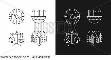 Suffering From Water Shortage Linear Icons Set For Dark And Light Mode. Evaporation. Reuse, Recyclin