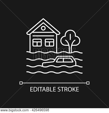 Floods White Linear Icon For Dark Theme. Water-related Disaster. Negative Impacts On Environment. Th