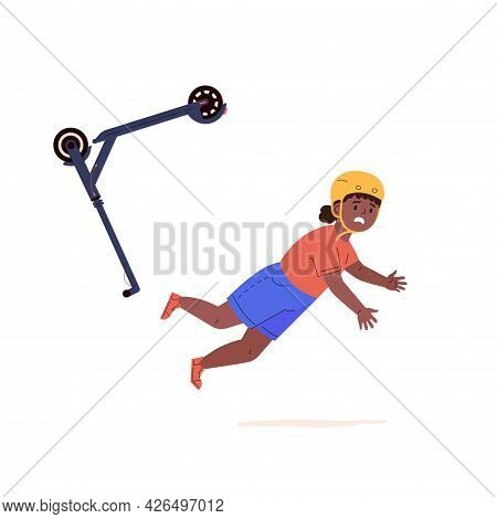 Child Falling Down From Kick Scooter. Little Girl In A Helmet Falls To The Ground After Scooter Acci