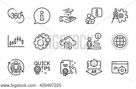 Science Icons Set. Included Icon As Certificate, Wind Energy, Candlestick Graph Signs. 360 Degree, C