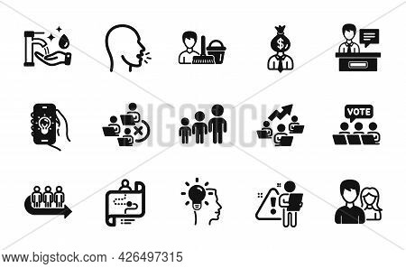 Vector Set Of Teamwork Chart, Cough And Manager Icons Simple Set. Cleaning Service, Exhibitors And S