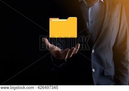 Businessman Hold Folder Icon.document Management System Or Dms Setup By It Consultant With Modern Co