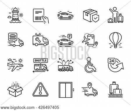 Vector Set Of Truck Delivery, Flights Application And Airport Transfer Line Icons Set. Airplane Trav