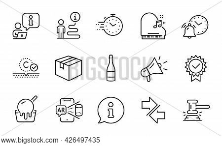 Business Icons Set. Included Icon As Champagne Bottle, Piano, Parcel Signs. Ice Cream, Alarm Clock,