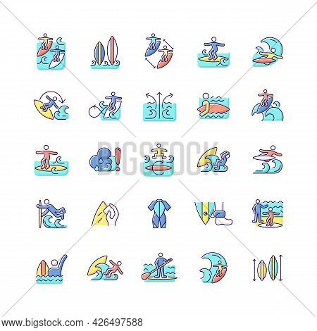 Surfing Rgb Color Icons Set. Recreational Activity. Catching Waves And Learning Tricks. Surf Zone. I