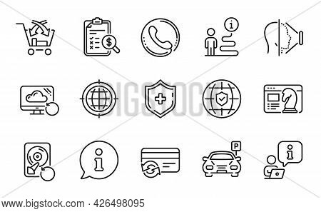 Technology Icons Set. Included Icon As Recovery Cloud, Cross Sell, Medical Shield Signs. Seo Strateg