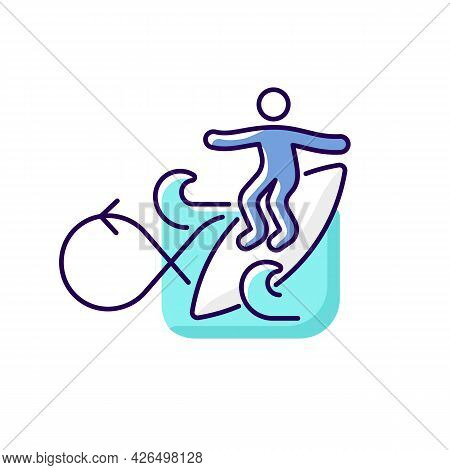 Performing Roundhouse Cutback In Surfing Rgb Color Icon. Isolated Vector Illustration. Turning Board