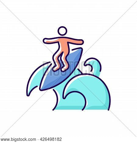 Floater Surfing Technique Rgb Color Icon. Isolated Vector Illustration. Riding Over Breaking Wave To