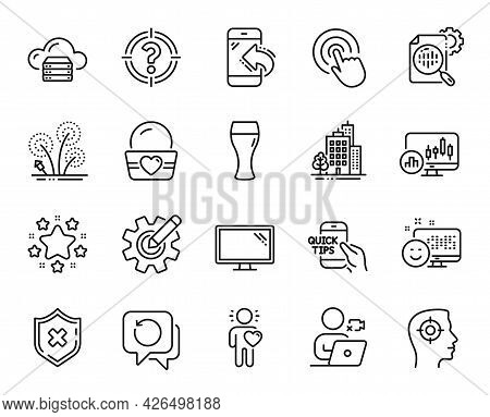 Vector Set Of Education, Recovery Data And Buildings Line Icons Set. Recruitment, Fireworks And Ice