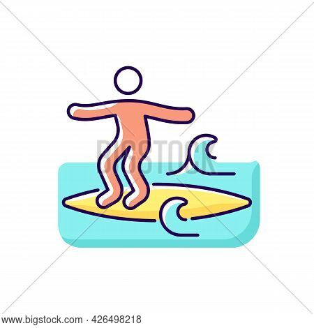 Noseriding Surfing Technique Rgb Color Icon. Isolated Vector Illustration. Performing Maneuver On He