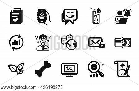 Vector Set Of Search Statistics, Support Consultant And World Communication Icons Simple Set. Creati