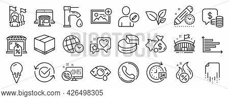 Set Of Business Icons, Such As Add Photo, Piggy Bank, Market Sale Icons. Time Zone, Feminism, Edit U