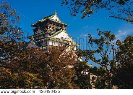 Main Keep, Tenshu, Of Osaka Castle At Osaka City, Japan