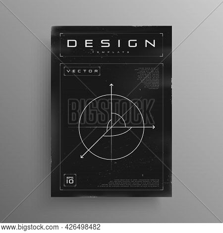 Retrofuturistic Black And White Poster With Hud Elements. Cyber Design With Geometry 3d Space In The
