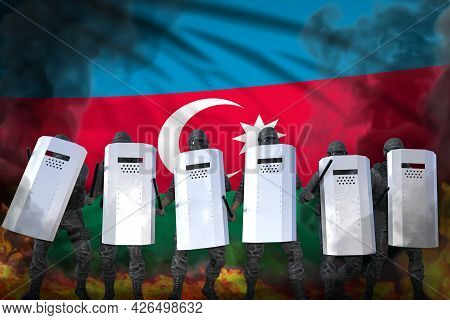 Azerbaijan Protest Stopping Concept, Police Swat Protecting Country Against Mutiny - Military 3d Ill