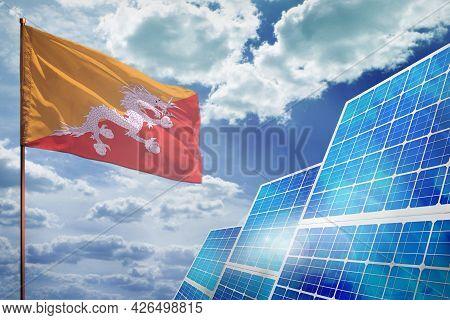 Bhutan Solar Energy, Alternative Energy Industrial Concept With Flag - Fight With Global Warming - I