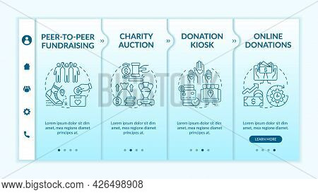 Raising Money Event Ideas Onboarding Vector Template. Responsive Mobile Website With Icons. Web Page