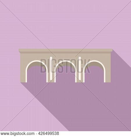 Stone Bridge Icon Flat Vector. River Arch. Water Stone Bridge