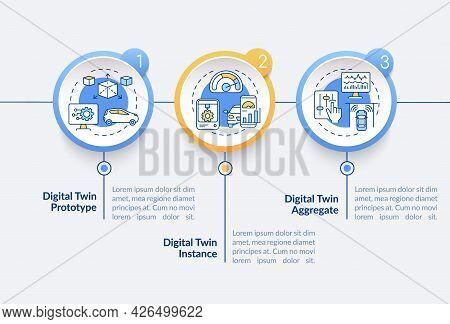 Digital Twin Types Vector Infographic Template. Digital Prototype Presentation Outline Design Elemen