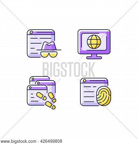 Online Censorship Purple Rgb Color Icons Set. Private Browsing. Digital Trail. Browser Fingerprintin