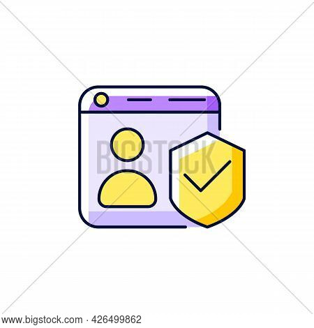 Securing Accounts Purple Rgb Color Icon. Isolated Vector Illustration. Digital Privacy Protection. T