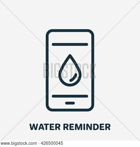 Water Drink Reminder Linear Icon. App Of Daily Water Tracker For Mobile Phone. Smartphone With Appli