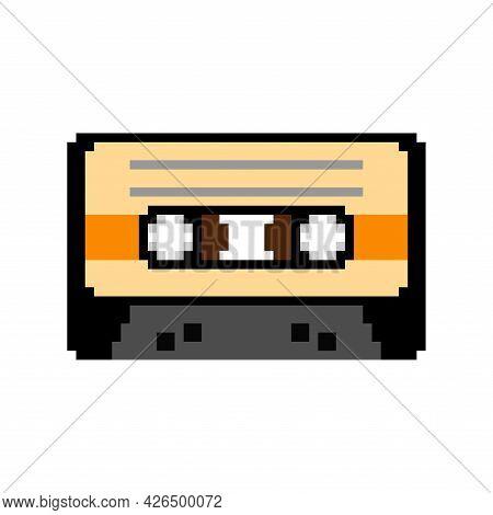 Retro Cassette Pixel Art For Tape Recorder. Boombox Cassette 8 Bit