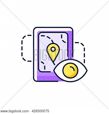 Location Tracking Purple Rgb Color Icon. Isolated Vector Illustration. Trailing People Movement Thro