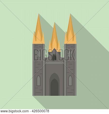 Irish Castle Icon Flat Vector. Ireland Dublin Landmark. St Tower Castle