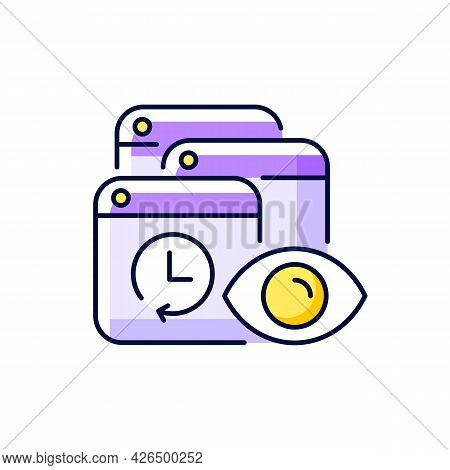 Tracking Search History Purple Rgb Color Icon. Isolated Vector Illustration. Private Browsing Activi