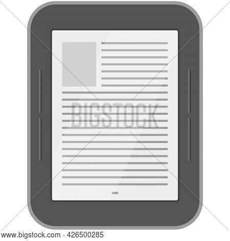 Ebook Reader Digital Tablet Vector Mobile Electronic Library Icon