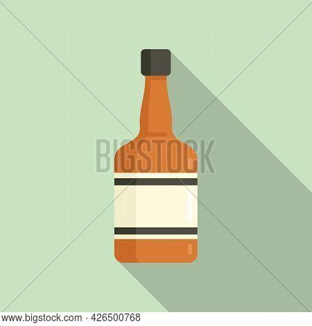 Whiskey Bottle Icon Flat Vector. Alcohol Glass Bottle. Liquor Rum