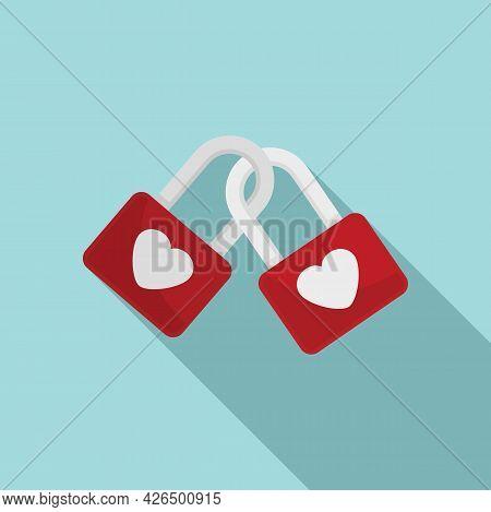 Love Padlocks Icon Flat Vector. Heart Padlock. Lock Key Security