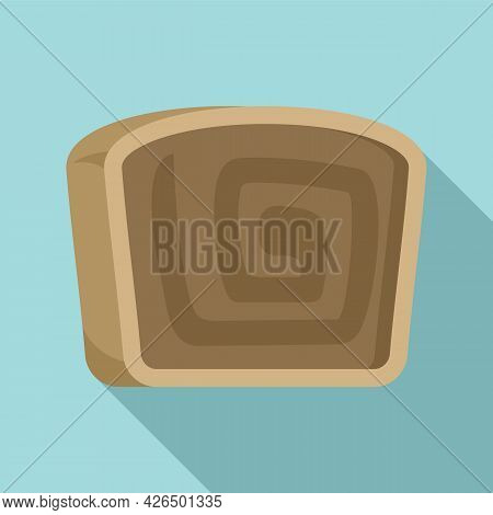 Roll Cake Icon Flat Vector. Swiss Brownie. Strawberry Roll Cake