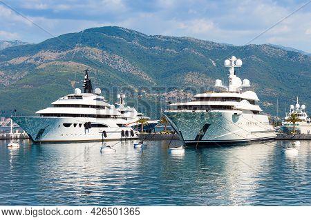 Speed Boats At Harbor. Power Boats, Sailboats Moored In Marina. Sea Coast Pier.