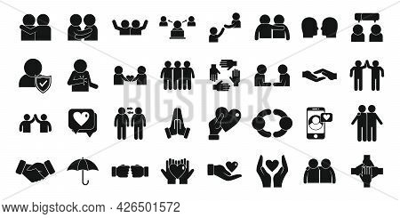 Trust Icons Set Simple Vector. People Team. Together Trust Community