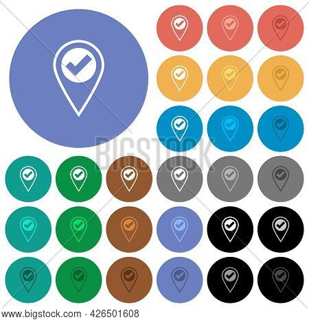 Gps Location Ok Multi Colored Flat Icons On Round Backgrounds. Included White, Light And Dark Icon V