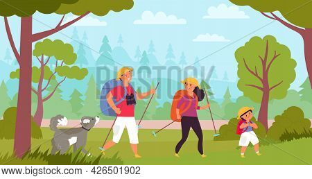 Family Hiking. Travelers Hike, Kids Trekking In Forest. Tourism Vacation, Adventure Walk With Parent