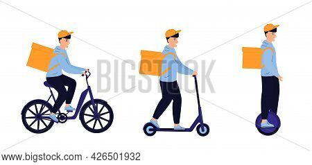 Delivery Man Delivers Food By Electric Bike, Scooter, Monowheel Isolated On White Background. Eco Tr