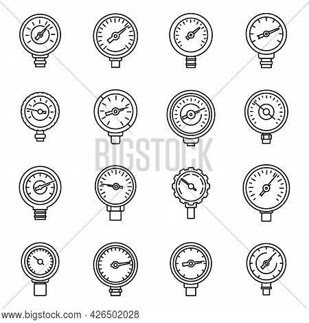 Gauge Manometer Icons Set Outline Vector. Pressure Meter. Machine Sensor