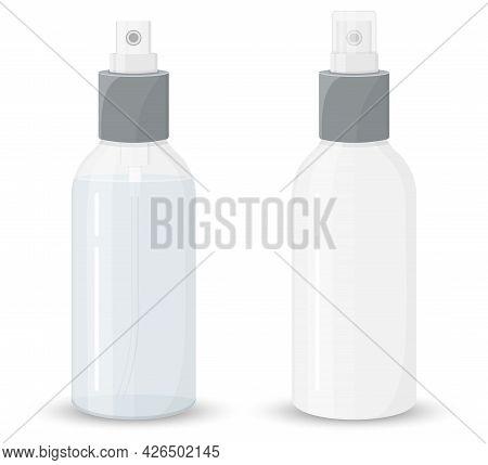 Mockup Two Plastic Sprayer Bottle Transparent And White For Liquid Gel, Soap, Lotion, Cream, Shampoo